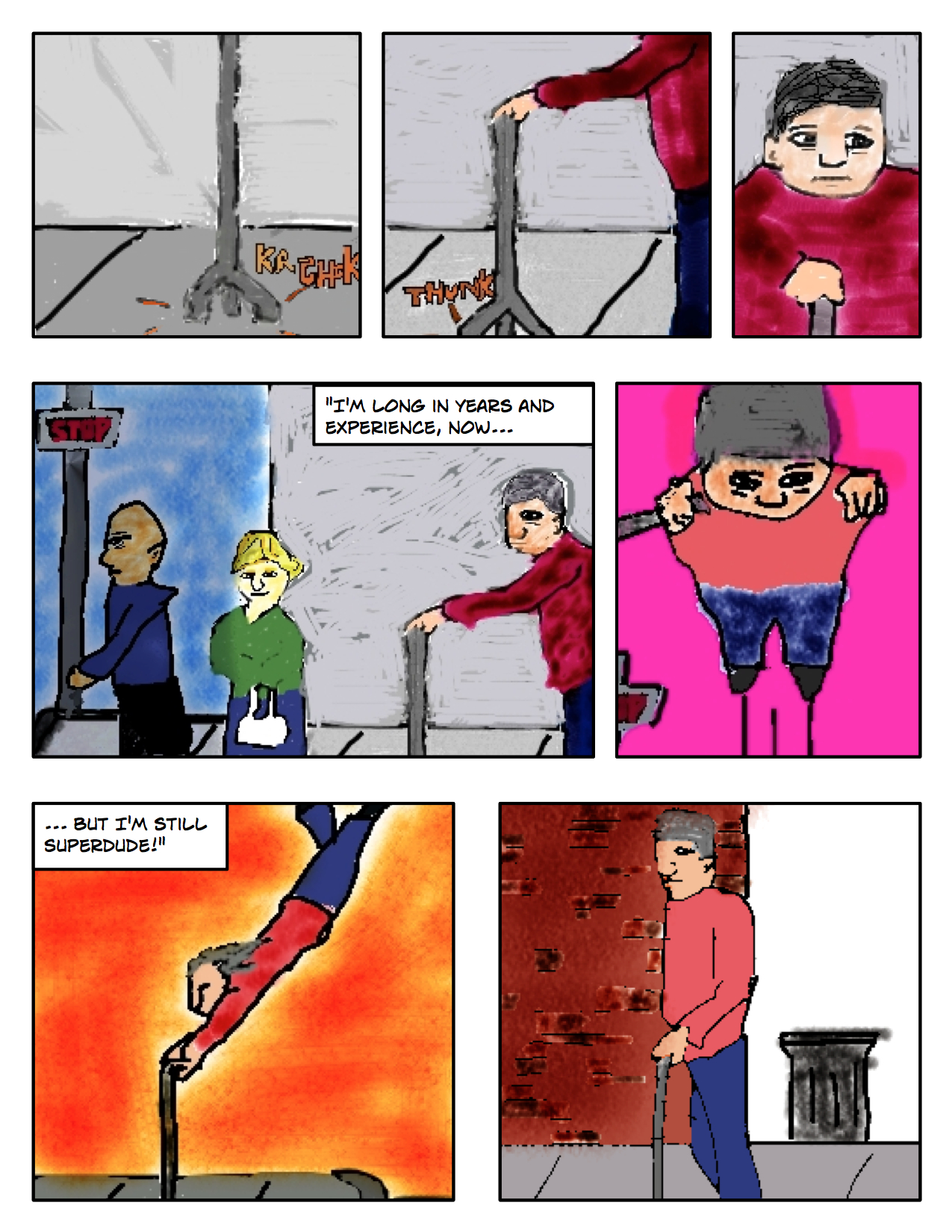 """Superdude Returns: Fall of a Hero – Page 1 """"Flying but Walking with a Cane"""""""