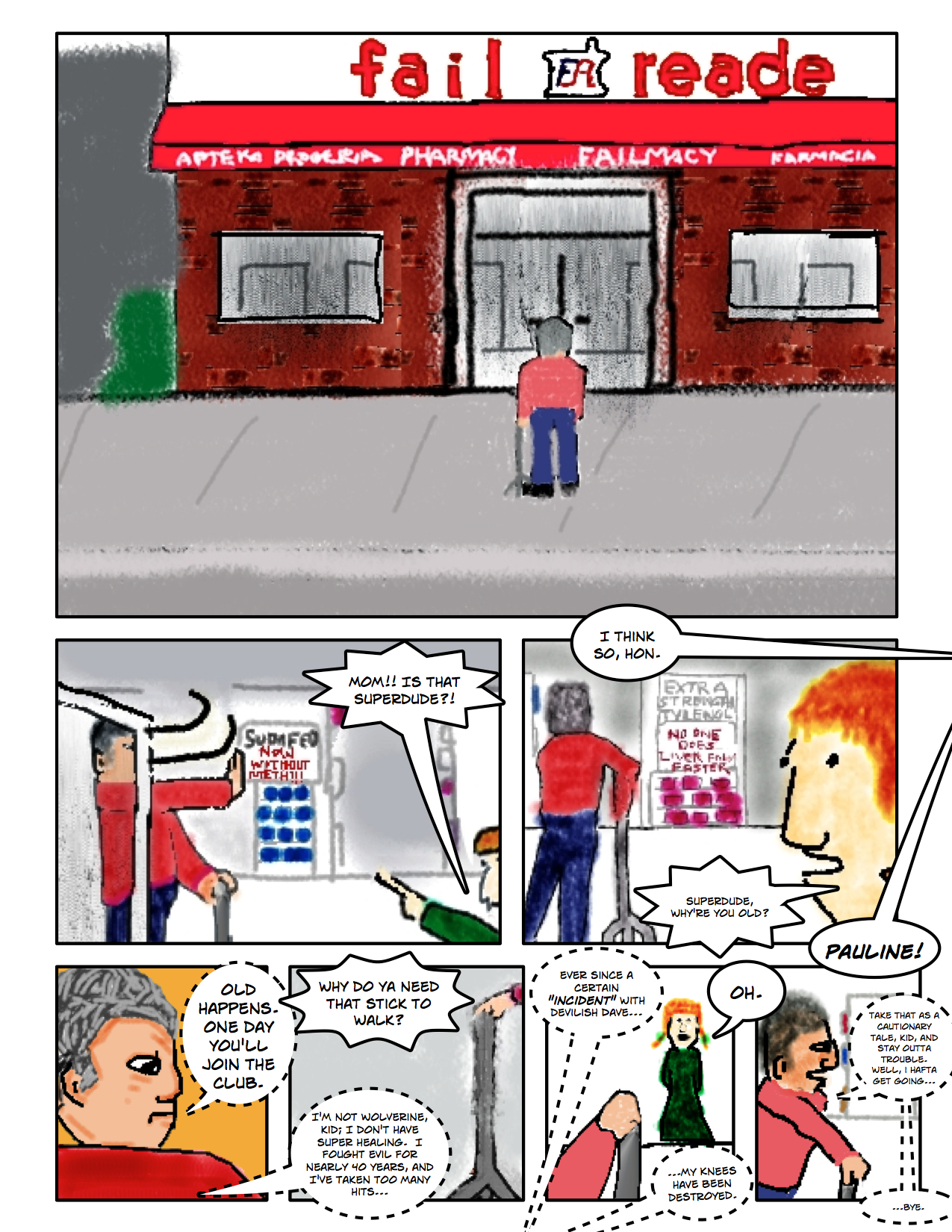 """Superdude Returns: Fall of a Hero – Page 2 """"At the Fail Reade"""""""