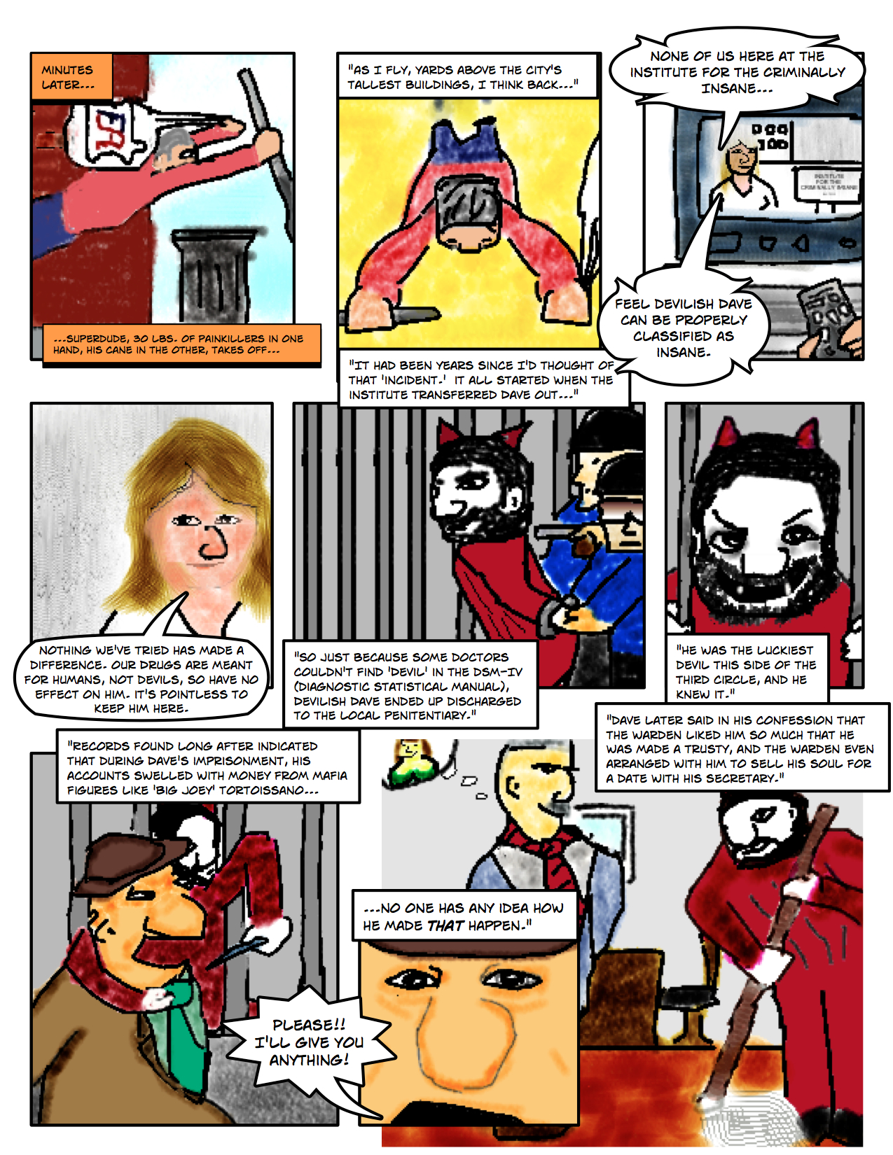 "Superdude Returns: Fall of a Hero – Page 3 ""Devilish Dave Transferred to Local Penitentiary"""