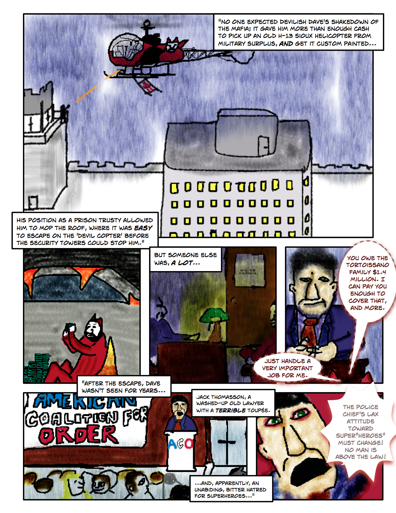 "Superdude Returns: Fall of a Hero – Page 4 ""Devilish Dave Escapes in the Devil-Copter"""
