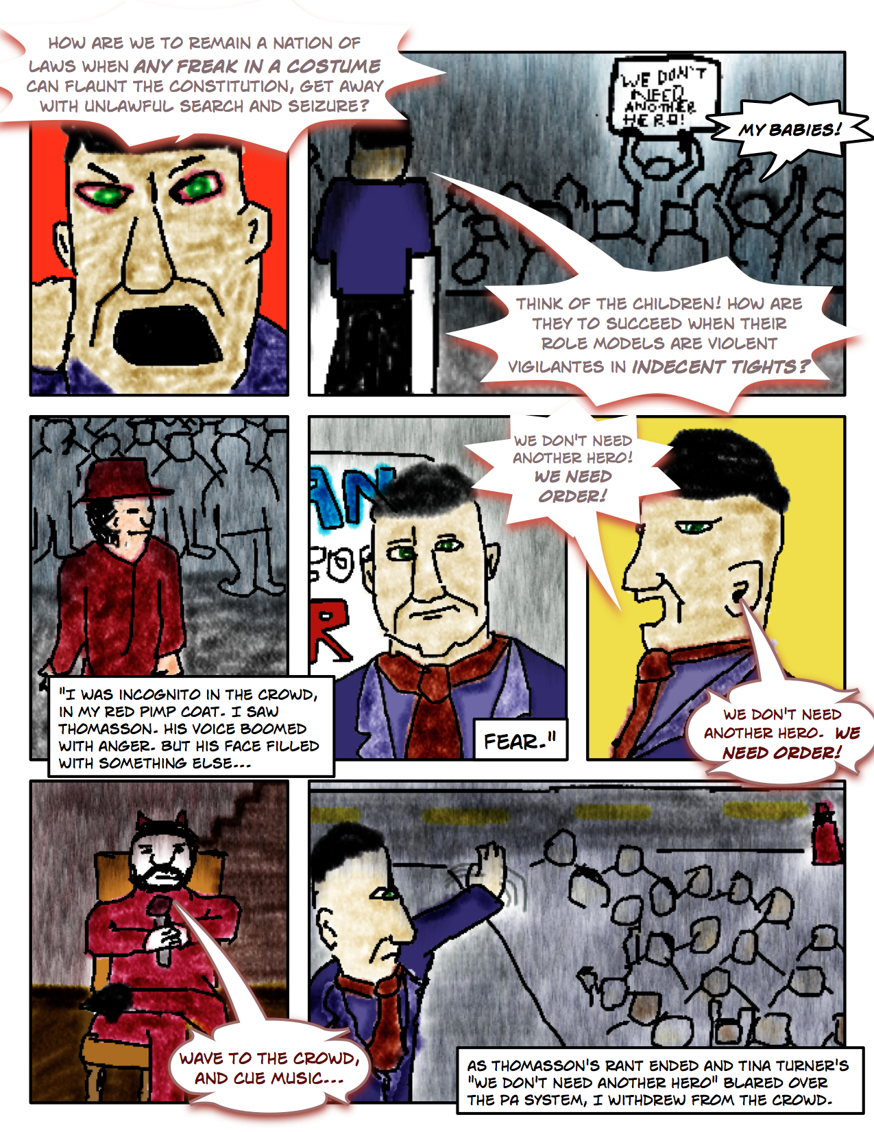 "Superdude Returns: Fall of a Hero – Page 5 ""Jack Thomasson's 'We Need Order' Rally"""