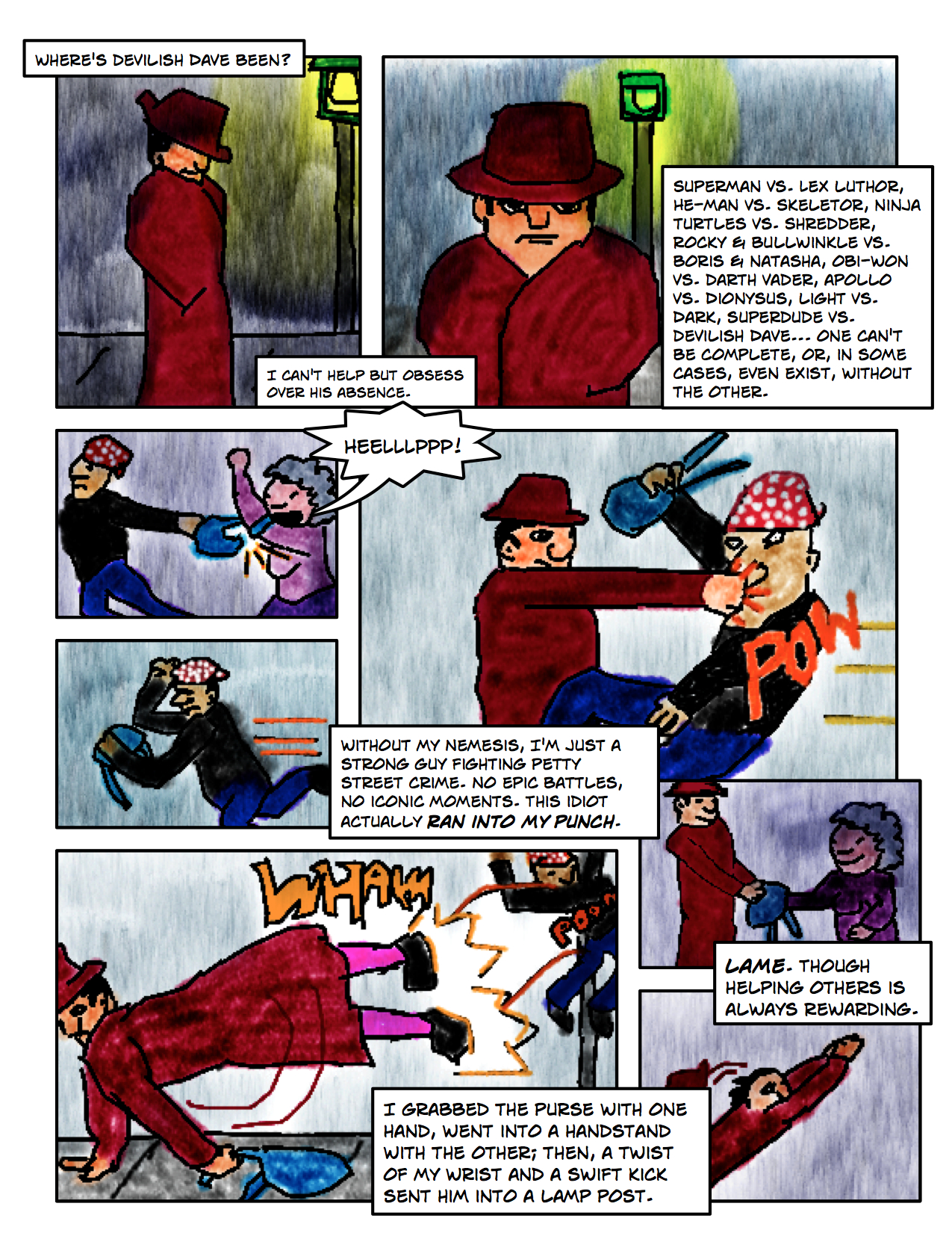 "Superdude Returns: Fall of a Hero – Page 6 ""Superdude Needs Devilish Dave"""