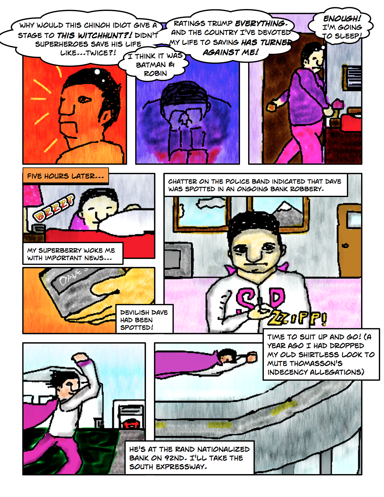 """Superdude Returns: Fall of a Hero – Page 8 """"Suiting Up"""""""