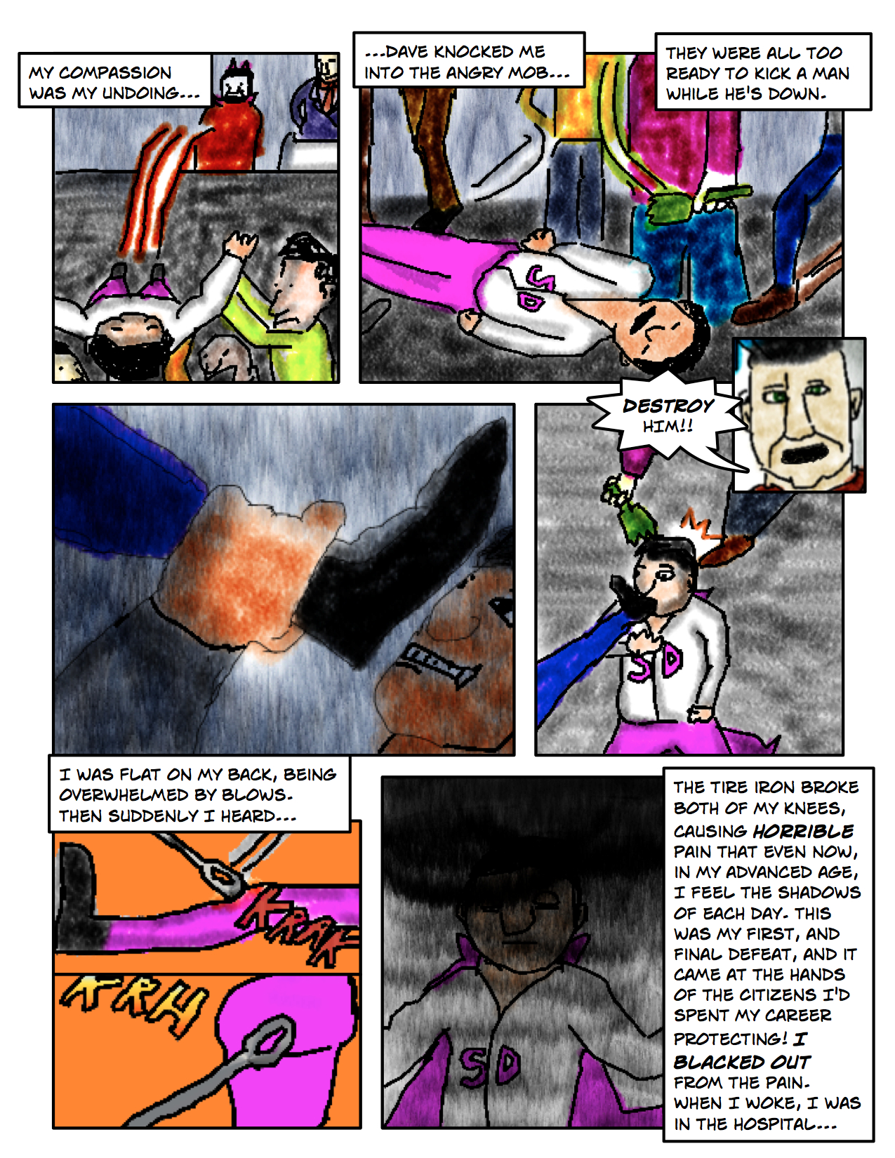"Superdude Returns: Fall of a Hero – Page 13 ""Kick A Man While He's Down"""