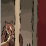 """Sorrel coated stallion in stable from Panel 24 of """"Saul's first day as a Pharmacist"""" series"""