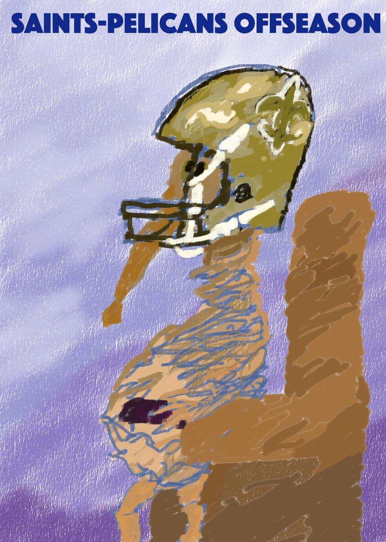 Pelican in Saints helmet